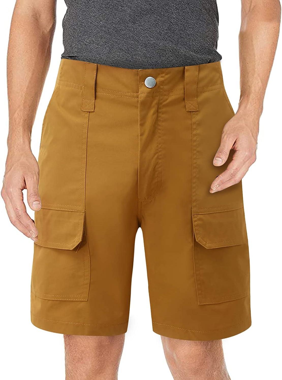 Pomobie Men's Daily Casual Solid Zipper Pocket Cargo Short