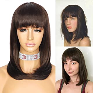 Sapphirewigs Brown Hair Short Bob Wigs with Bangs Glueless Natural Wavy Synthetic Heat Resistant Fiber Hair Wig With Bangs...