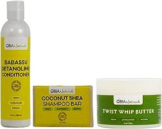 OBIA Naturals Coconut Shea Shampoo Bar 4oz + Babassu Detangling Conditioner + Twist Whip Butter 8oz