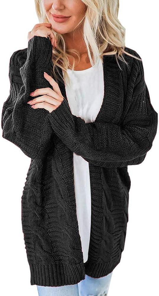 NREALY Jacket Women's Long Sleeve Knitwear Open Front Cardigan Sweaters Casual Outerwear