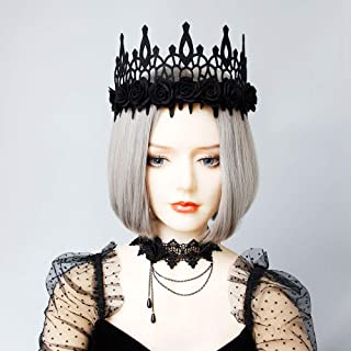 Halloween Fashion Queen Black Lace Crown/Rose Crown/Lace Spider Necklace Headbands Headbands Girl Large Tiara Crown Hairbands Headands Woman Cosplay Party Hair Accessories (Black Rose Crown)