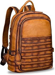 Genuine Leather Backpack for Men Vintage Handmade High Capacity Rucksack Casual Daypack (Brown)