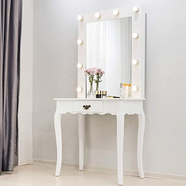 Mecor Vanity Table W 10 LED Lighted Mirror Makeup Desk With Drawer Wood Bedroom Bathroom Dressing Table Furniture Girls Women Gifts White