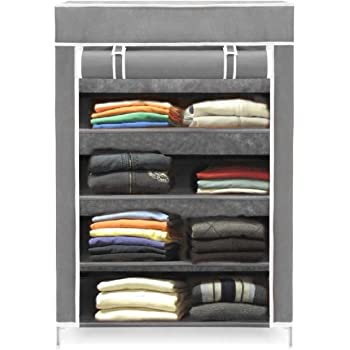 Keekos Collapsible Wardrobe Organizer, Storage Rack for Kids and Women, Clothes Cabinet, Bedroom Organiser Tower with Iron and Nonwoven Fabric with Zippered Dustproof Cover-4 Layer Grey