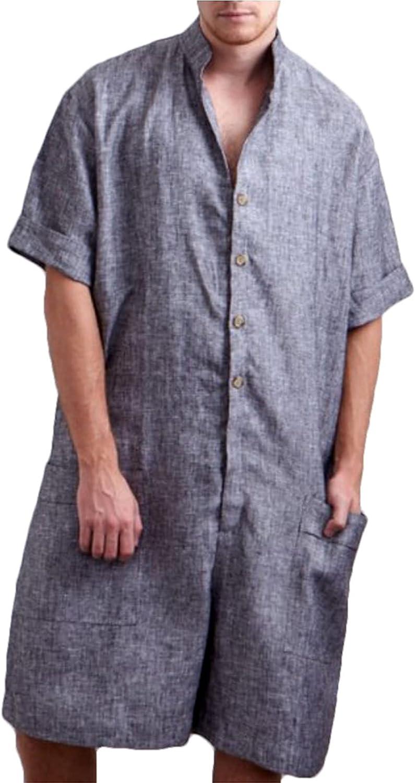 Spring Summer Jumpsuit Men Cargo Jumpsuit Loose Pants Solid Short Sleeve Jumpsuit Shorts Streetwear,Gray,M