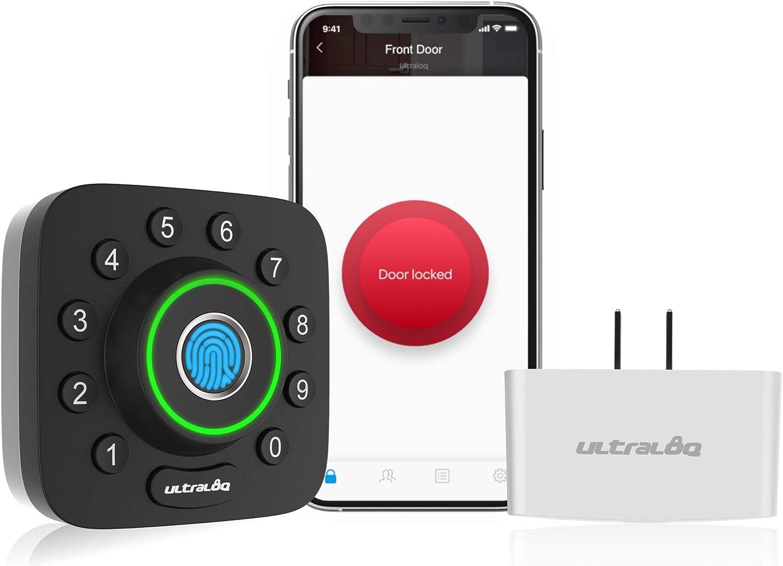 ULTRALOQ Smart Lock U-Bolt Pro + Bridge WiFi Adaptor, 6-in-1 Keyless Entry Door Lock with WiFi