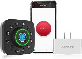ULTRALOQ U-Bolt Pro دارای اثر انگشت و صفحه کلید Smart Deadbolt Door Lock Bridge WiFi. با الکسا ، دستیار Google ، IFTTT کار می کند