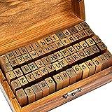Sellos Letras Abecedario, CJBIN Juego de Sellos del Alfabeto de 70 Piezas, Sellos Abecedario Madera...