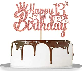 Rose Gold Glitter Happy 13th Birthday Cake Topper for Cheers to 13 Years/Official Teenagers 13th Birthday Party Decorations Supplies - High Grade Color