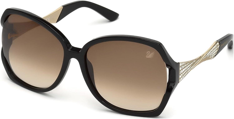 Swarovski Women's Djulia Round Sunglasses,Shiny Black,60 mm