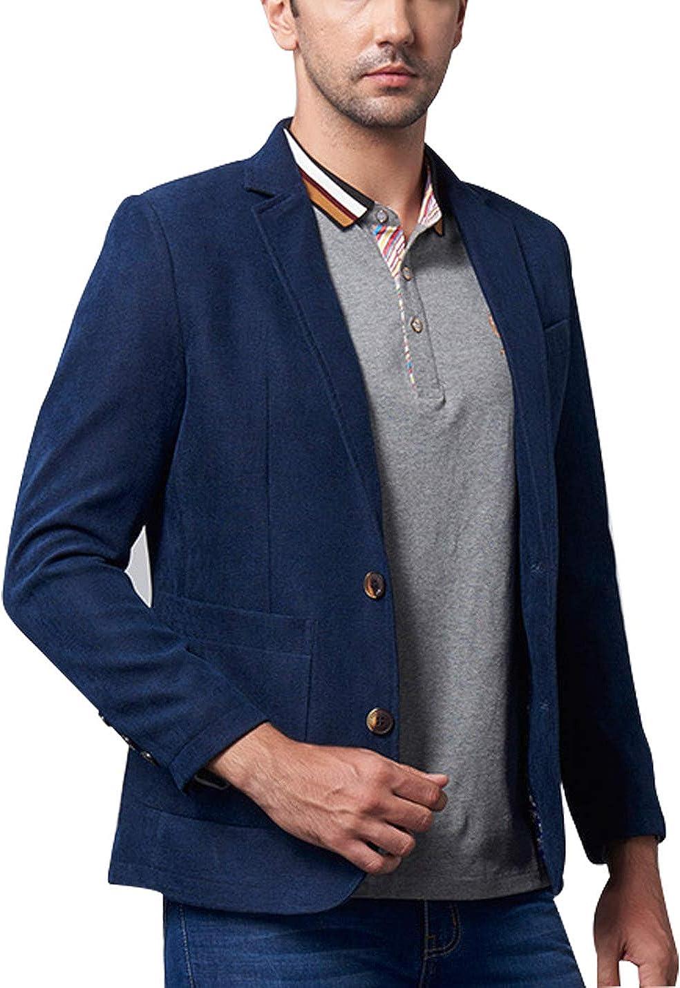 Omoone Men's Casual Lapel 2 Button Suits Slim Blazer Jacket Sports Coat