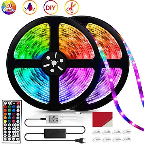 LED Strip 10M (5M*2), IP67 Wasserdicht LED Streifen lichterketten für zimmer, 5050 RGB 300 LEDs Lichtband mit Fernbedienung und Netzteil, LED Lichterkette Selbstklebend Leiste Band Beleuchtung