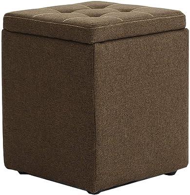 ZLL-Diseño Designer Cubo de almacenaje Plegable de la Caja del escabel con la Tapa Desmontable Taburete Plegable de poliéster, 30 X 30 X 45 Cm (Brown) Home: Amazon.es: Hogar
