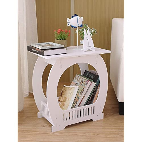 SS ARTS Wood Plastic Table with Storage (38 cm x 30 cm x 46 cm, White)