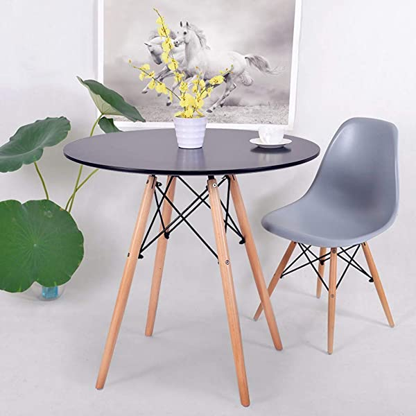 C Easy Kitchen Dining Table Modern Industrial Round Leisure Wood Coffee Table Office Conference Pedestal Desk Dinette With Wood Legs For Kitchen Living Room Black