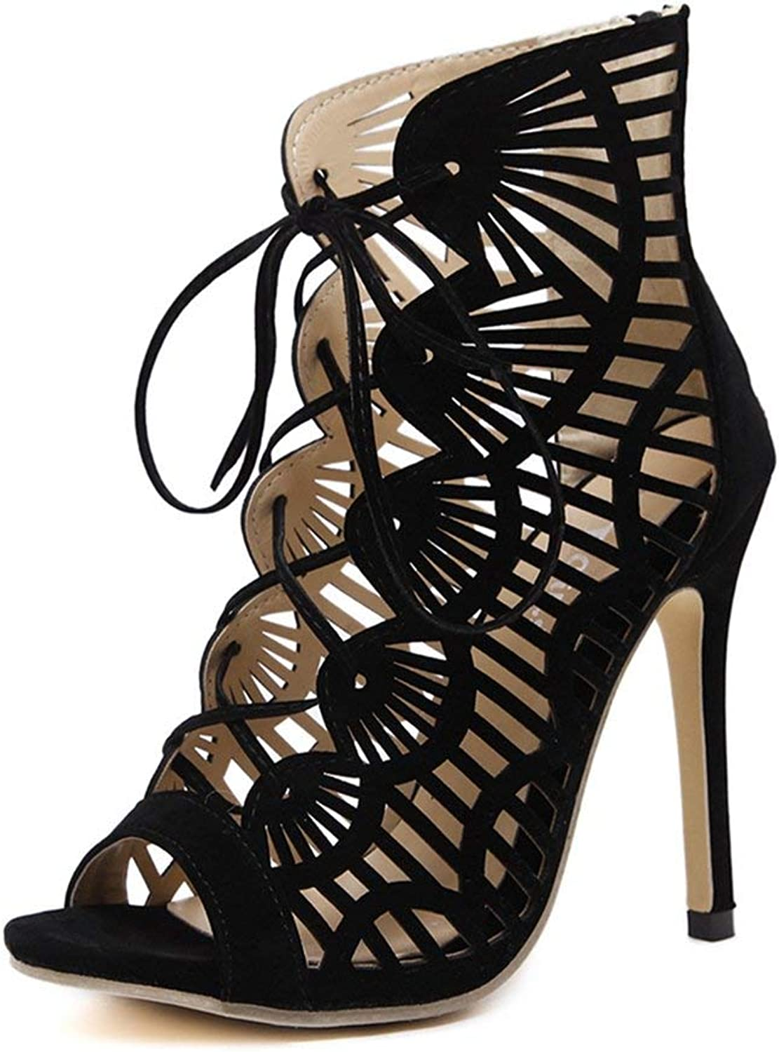 Fashion shoesbox Women's Stiletto High Heel Gladiator Strappy Sandals Peep Toe Caged Platform Anti-Slip Lace Up Dress Pump