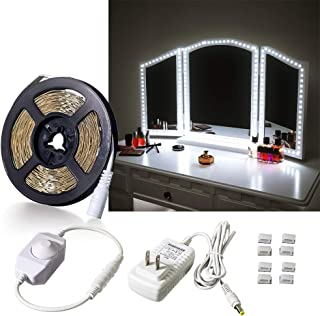 Dimmable LED Strip Lights with Power Supply, Flexible Daylight White LED Vanity Mirror Lights Kit for Vanity Mirror Makeup Dressing Table Set, 13ft Under Cabinet Lighting Strips for Kitchen