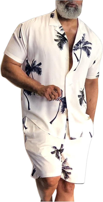 Men's Retro Button Short Sleeve Hawaiian Shirt and Short 2 Piece Outfit Beach Tropical Shirt Suits and Home Pajamas