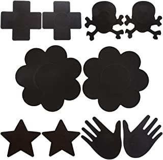 Ayliss Black 5/10 Pairs Assorted Self Adhesive Pasties Disposable Breast Petals
