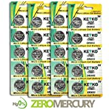 2032 Battery - 20 pcs Pack - 3V Lithium Buttom Coin Cell Battery Type 3.0 Volt: CR2032 DL2032 ECR2032 Genuine KEYKO Supreme High Energy