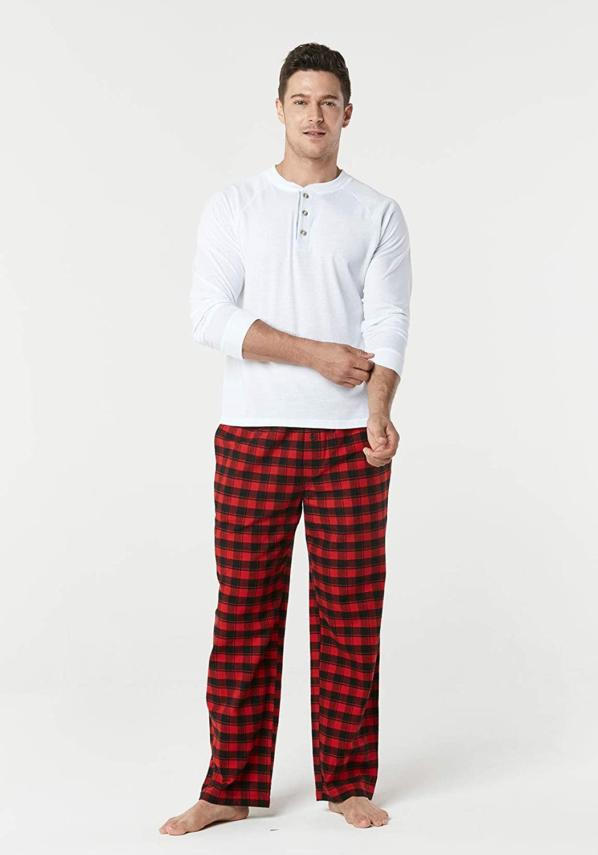 CQR Mens Pyjamas 100/% Cotton Sleep Soft Lounge Flannel Bottoms