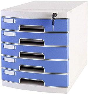 Armoires à archives avec serrure et tiroir - 5 tiroirs - Couleur : bleu, gris, rose, gris clair, gris clair - Pour bureau...