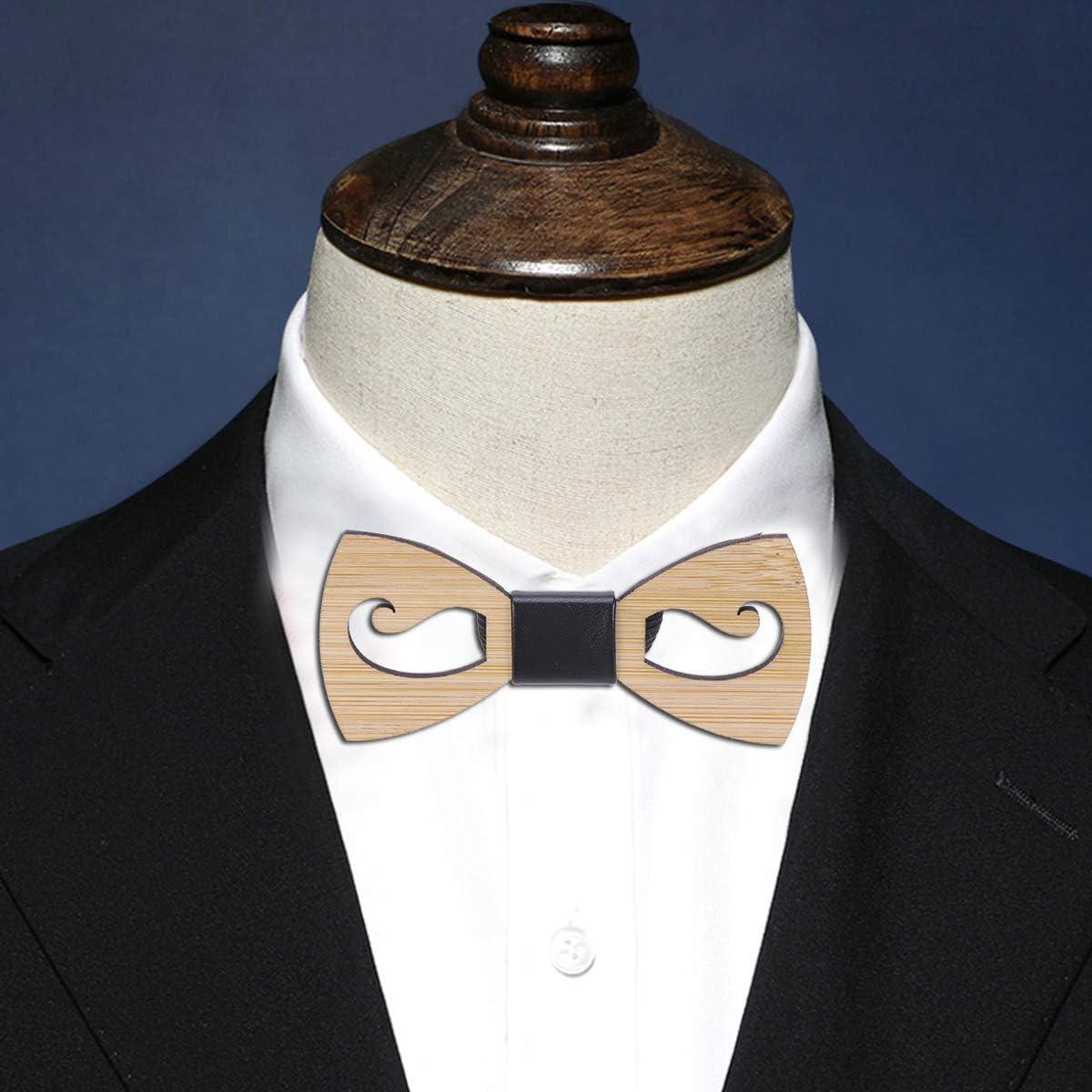 Wooden Bowtie Handcraft Pattern Bowknot Creative Hollow-out Moustache Shape Cravat Party Decor Men Dress Collar for Wedding Party for Party Supplies