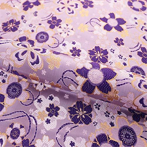 SQINAA Brocade Stof Mooie Kersenbloesems Bloemen Meisjes Jurk Sachet Satijnen Doek Prachtige Prachtige Patronen 75X50cm,Purple
