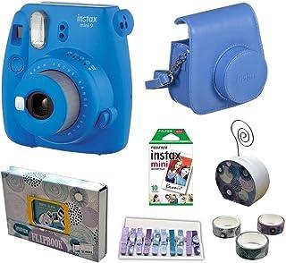 كاميرا فورية اينستاكس ميني 9 مع فيلم من فوجي فيلم، عبوة اقتصادية - ازرق كوبالت