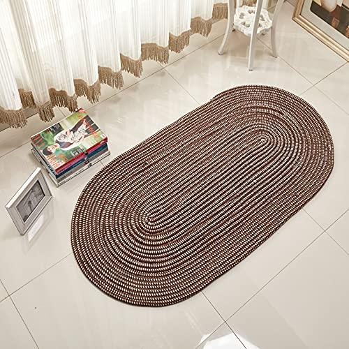 YuYiY Alfombra ovalada tejida con cuerda, respetuosa con el medio ambiente, plegable, lavable a máquina, para dormitorio, mesita de noche, balcón (marrón oscuro, 50 x 160)