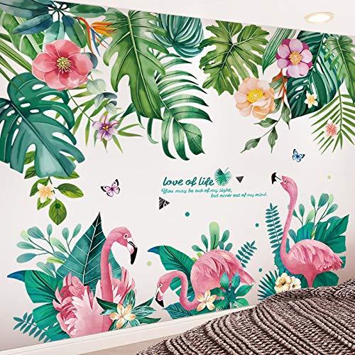 Wand-Sticker 3D Flamingo Tier Blätter Pflanze Abziehbilder, DIY Modern Home Kunstgemälde Poster, verwendet in Kinderzimmer Mädchen Schlafzimmer Wohnzimmer Dekoration ( Color : Flamingo and leaves )