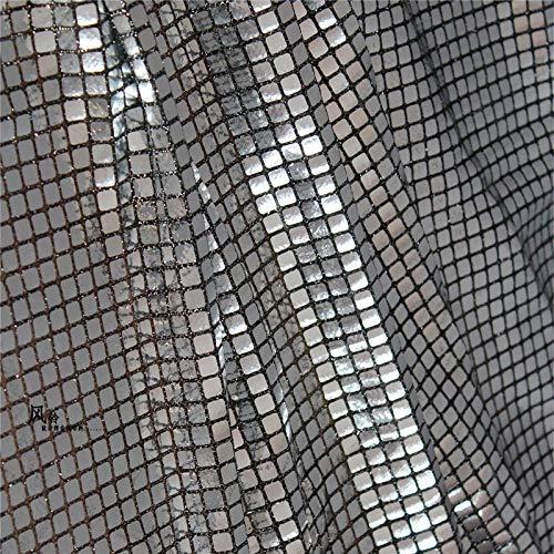 JKLAQ Telas por Metros para Vestidos- Tela De Tela Reflectante De Malla Compuesta De Cubo De Rubik A Cuadros Plateados, (0.5M)