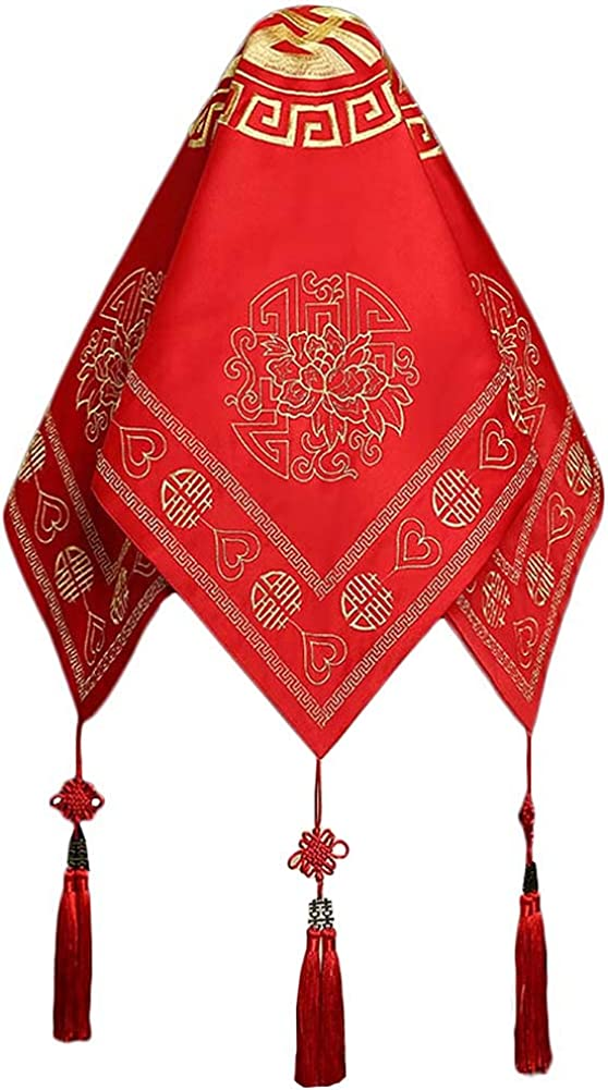 Traditional Chinese Wedding Bridal Veil Red Head Scarf A19