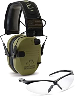 Walkers Razor Slim Electronic Hearing Protection Muffs with Sound Amplification and Suppression and Shooting Glasses Bundle (Choose Your Color)