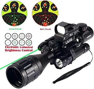 UUQ 4-12X50 Rifle Scope Dual Illuminated Reticle W/Green(RED) Laser Sight and 4 Tactical Holographic Dot Reflex Sight (12 Month Warranty)