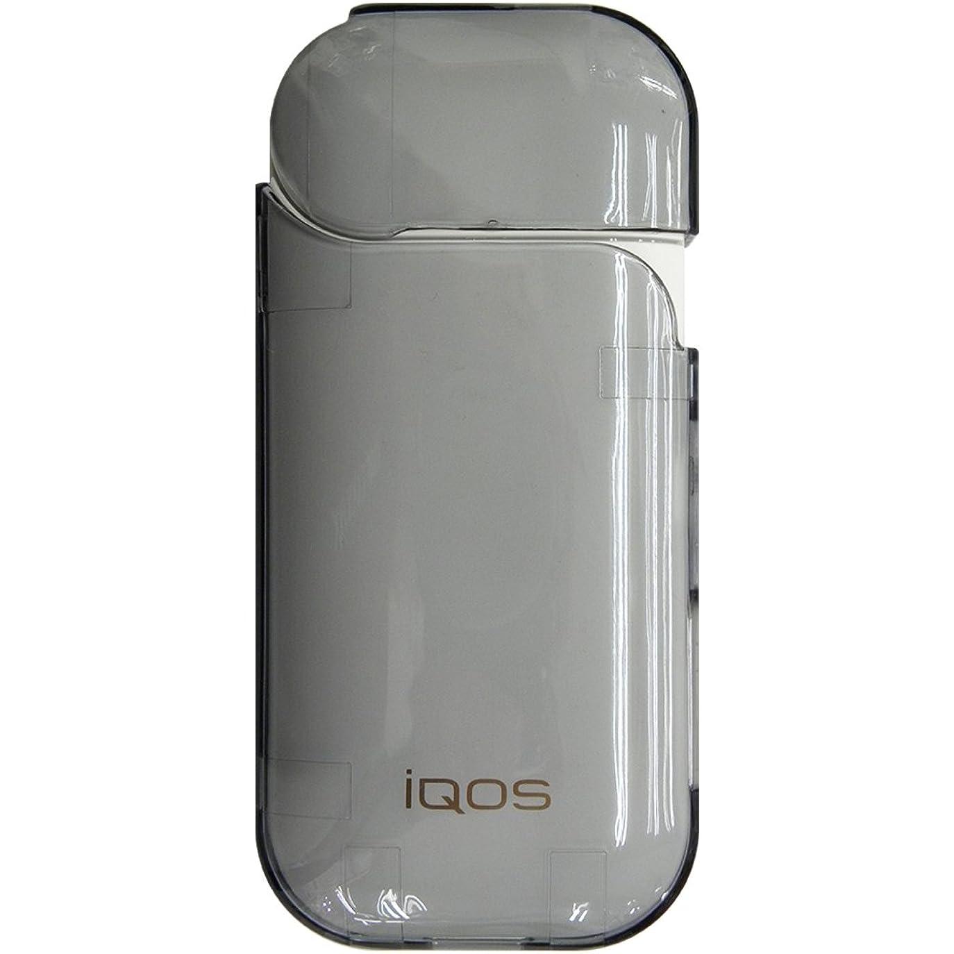 バスルーム不良ズボンアイコスケース iQOS ハード 耐衝撃 耐熱 頑丈 シンプル コンパクト カバー【クリアブラック】