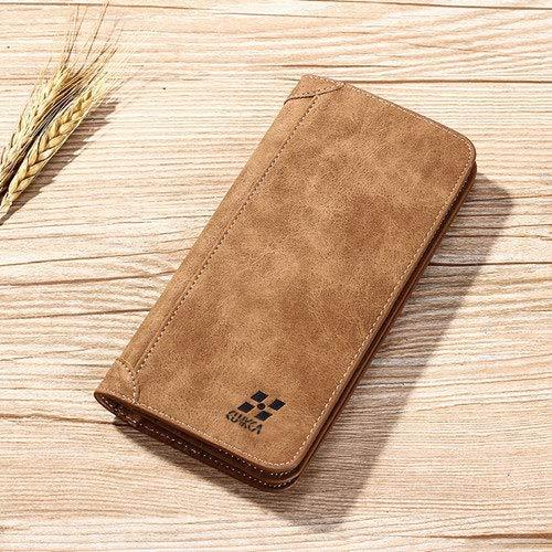 GFF Men 's Wallet, Kuh Matte Leder Retro Slim Lange Brieftasche, Handtasche Brieftasche ID Kreditkarteninhaber, Kaffee