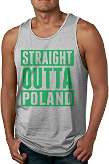 FTFH3KK Straight Outta Poland Men's Comfort Cotton Tank Top T-Shirt for Jogging Workout Volleyball Gray