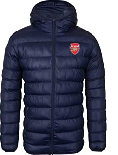 Arsenal FC Official Soccer Gift Mens Quilted Hooded Winter Jacket