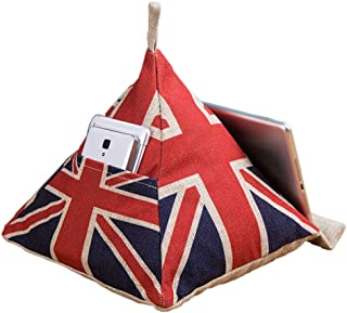 Olpchee Personality Linen iPad Tablets e-Readers Books Beanbag Cushion Stands Holder Cell Phone Storage Bag Creative Triangle Cushion Pillow (British)
