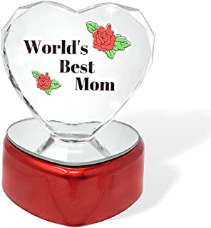 Light up LED Heart for Mom - Worlds Best Mom - Glass Heart on LED Lighted Base - Gifts for Mom - Mom Gifts