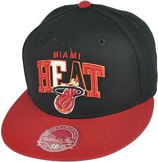 Miami Heat Mitchell & Ness Arch Vintage Logo Tri-Pop Fitted Hat