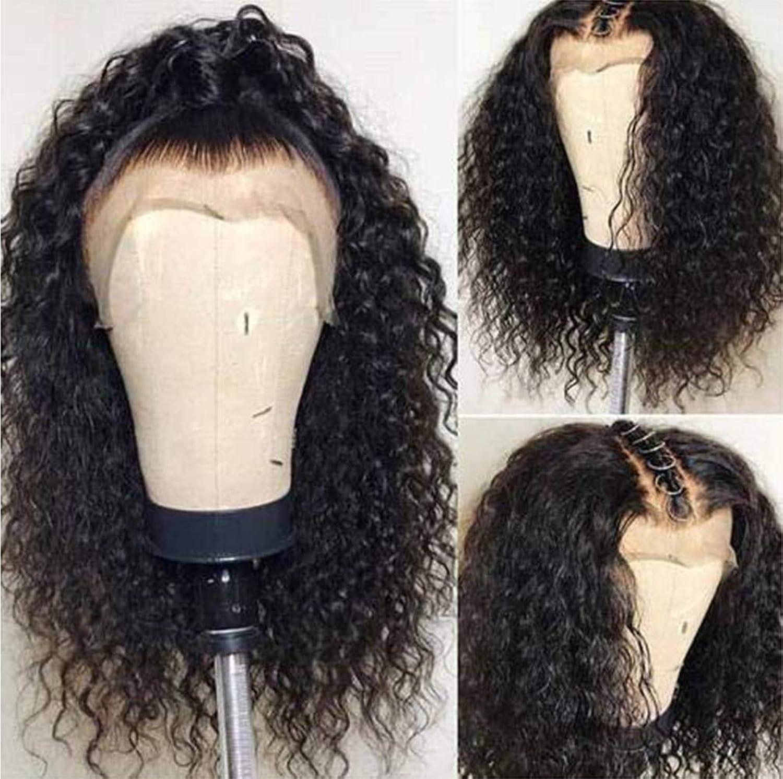 八下に向けます事業内容女性ウィッグ150%密度カーリーレースウィッグ人毛グルーレスサイドパーツ変態カーリーショートボブレースフロントウィッグレミー髪