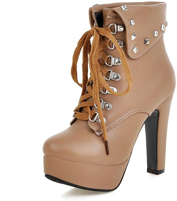 Jim Hugh Women shoes Popular Short Plush Lace Up Platform Chunky High Heels Mid Calf Boots Spring Autumn