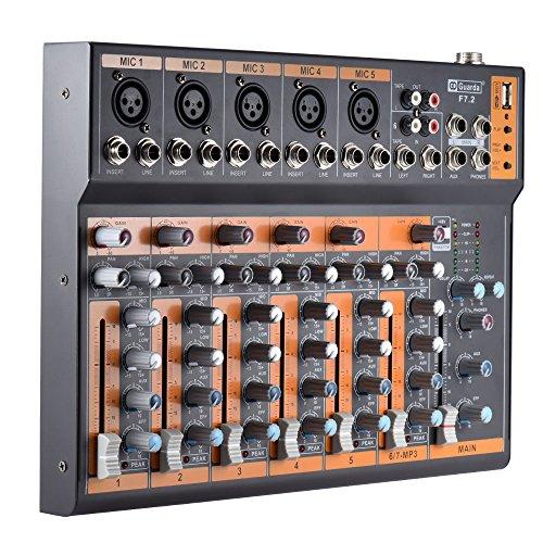 ammoon Portátil 7 Canales Línea Mic Mezclador de Audio Mesa de...