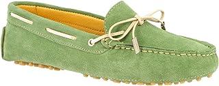 Leonardo Shoes Mocassini Driving da Donna Fatti a Mano Pelle di camoscio Verde - Codice Modello: 502 CAMOSCIO Menta