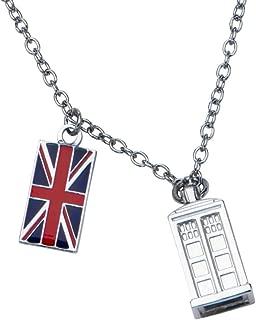 Animewild Doctor Who Union Jack and Tardis Pendant Necklace