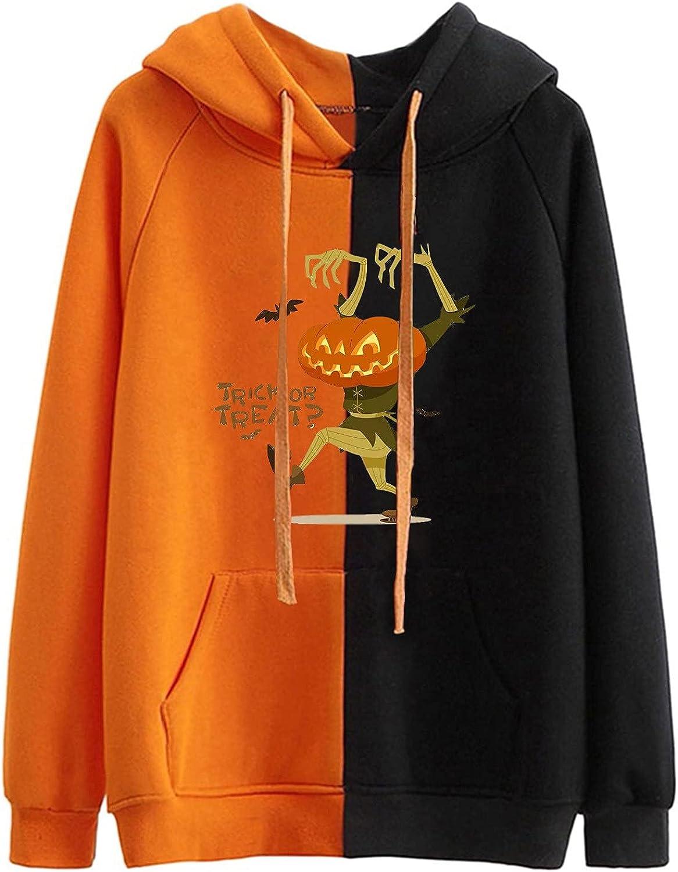 Women Hooded Long Sleeve Halloween Pullovers Sweatshirts Casual Tops
