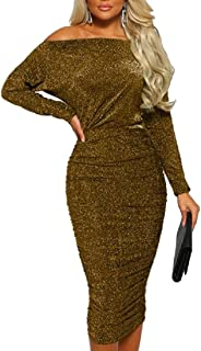 Women's Off Shoulder Long Sleeves Bodycon Sweater Dress Sexy Knit Slim Cardigans