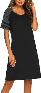 Hotouch Womens Nightgown Soft Short Nightshirt Cotton Sleep Shirt Short Sleeve Sleepwear Comfy Pajama Sleepshirts S-XXL